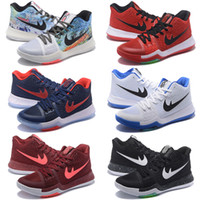 2017 Kyrie Irving 3 Hot Punch Équipe Rouge Noël Pas Cher Chaussures De Basket-ball Hommes Top Qualité Kyrie 3 Air Coussin Sport Sneakers Taille US7-12