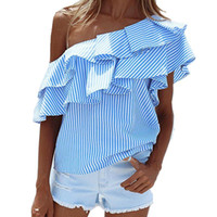 Wholesale Womens Batwing Tops - Womens Blouse Shirts Summer Sexy One Shoulder Ruffled Collar Tops Striped Short Sleeve Loose Casual 2018