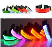 LED Optische Faser Licht emittierende LED Arm Band Luminous Arm Gürtel Laufen Reiten Cheer Requisiten Warnungen Fluoreszenz Reflexion LED Arm Band