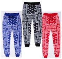 Wholesale Loose Harem Sweatpants - Wholesale-Hip Hop Jogging sweatpants men's Casual Harem Pants Unisex streetwear Cotton Joggers Red blue bandana Pants