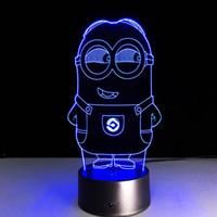 Wholesale Christmas Minion Usb - 2017 Minion Style 3D Optical Illusion Lamp Night Light DC 5V USB Charging AA Battery Wholesale Dropshipping Free Shipping