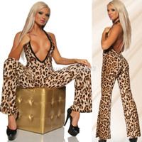 Wholesale Cosplay Multicolour Wigs - Sexy Lingerie Leopard grain cultivate jumpsuits Clothing hung deep v neck conjoined stage dress one piece