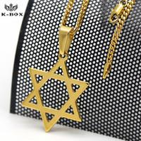 erkek yıldız kolye toptan satış-Chrimas hediye Mens hip hop Altın Iced Out Yahudi Yıldız David Charm Kolye Hip Hop 24
