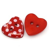 Wholesale Buttons Resin 15mm - Dot Pattern Red Love Heart Resin Sewing Buttons 2 Holes 15mm*14mm Round Sewing, Scrapbooking, Decoration 100 Pcs I201L