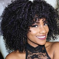 Wholesale Indian Curly Hair For Sell - Full Lace Wigs Kinky Curly Color 1b 100% Indian Human Hair Lace Wigs Dark Brown Color Cap For Selling