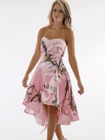 rosa camo stile großhandel-2016 Realtree Pink Camo Prom Kleider 2016 New Style Nach Maß Short Front Long Back Sweethart Eine Linie Abend Formale Kleider Cocktail Party D