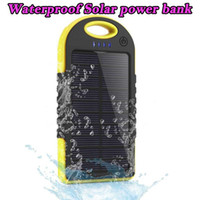 Wholesale Battery For Cellphones - 5000mAh Solar power bank waterproof shockproof Dustproof portable Solar powerbank External Battery for Cellphone iPhone 7