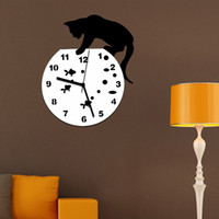 Wholesale Stickers Watches - Tom and Jerry 3D Wall Clock Wall Mirror Sticker Clock Watch Mirror Stickers Home CAT Wall Decor Decals Wall Clock Modern Design