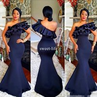 Wholesale Women S Dresses Size 12 - Navy Blue 2017 Mermaid Bridesmaid Dresses One Shoulder Ruffles Satin Floor Length for Wedding African Women Wedding Guest Dresses