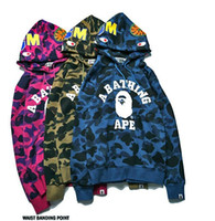 Wholesale Casual Hoodies Dresses - Europe and the United States on the streets of ape Kanye MA1 tide brand bape shark head Camo hoodies. Men and women couples dress
