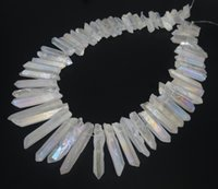 Wholesale rocks stones gems - Natural White Titanium AB Crystal Quartz Point Pendants, Raw Healing Gems stone Spikes Top Drilled Briolettes Rock, Women Necklace Jewelry