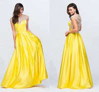 Wholesale Satin Bright Orange Short Dresses - Bright Yellow 2017 Pageant Dresses With Cap Short Sleeves Pearls Sequins Beaded Satin Evening Dress Formal Prom Gown Banquet Vestidos New