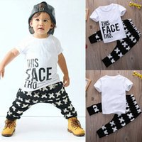 Wholesale Leopard Cross Top - Kid Cross Clothing Sets Toddler Kids Baby boy Summer Outfits Sports Clothes Letter T-shirt Tops+Harem Pants 2pcs Set
