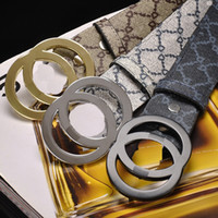 Wholesale women s wide belt - 2018 Fashion Pattern Double Chain Buckle Men Women Designer Belts European Style Brand waistbands High Quality Real Leather for gift