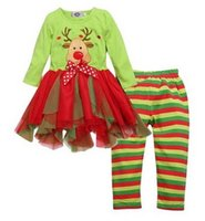 Wholesale Deer Bow Shirt - 2016 Christmas Day girls Children clothing sets Deer bow dots Rudolph colorful tutu skirt shirt+striped pants set wholesale fast shipping