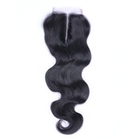 Wholesale Indian Stocks - Body Wave 4*4 Lace Closure 7A Unprocessed Human Hair Brazilian Indian Malaysian Peruvian Natural Color 8-24inch in Stock DHL Free Shipping