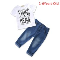 Wholesale boys 24 months jeans - Boys Kids T-shirts Jeans Pants 2PCS Clothing Sets Summer Short Sleeve Letter Tops Denim Trousers Outfits Children Tees Shirts Pants Suits