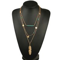 перо ожерелье для продажи оптовых-горячие продажи женщин ожерелье перо заявление ожерелья подвески старинные ювелирные изделия Multi слои длинное ожерелье женщины NL579