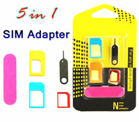 Wholesale Metal Cell Phone Tools - Aluminum Metal 5 in 1 Nano Sim Card Adapters Micro Sim Stander Sim Card Tool for iphone 6s 5s all cell phone Devices with retail box