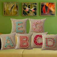 Wholesale Grey Green Bedding - NEW 45x45cm Cotton Linen Letter A-Z Cushion Cover Home Throw Pillow Case For Car Bed Sofa Decor