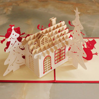 Wholesale Christmas Laser Cut Greeting Cards - (10 pieces lot)Merry Christmas House 3D Laser Cut Pop Up Paper Handmade Custom Greeting Cards Gifts Wishes Supplies Wholesale