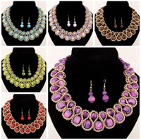 Wholesale Necklace Statement Neon Crystal - 2016 New Fashion Ethnic Chain Choker Vintage Rhinestone Neon Bib Statement Necklaces & Earring Dangle Women Jewelry Gift