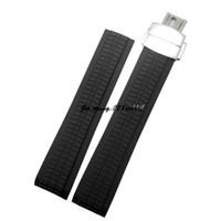 correa de reloj 21mm al por mayor-JAWODER correa de reloj 21mm negro impermeable buceo correa de reloj de goma de silicona correas con cierre de despliegue para AQUANAUT 5167A-001 RELOJ