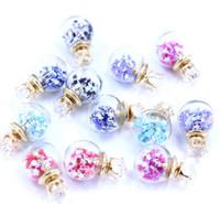 Wholesale Wholesale Sequin Glasses - New Bohemian style glass ball earrings pentagram Sequin zircon earrings