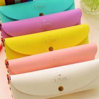 ingrosso borse di caramella korea-Vendita calda Corea del pvc Boxed Adorable Fashion Macarons creativi Simple Candy Color Cute Mini Bag For School Girls