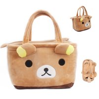 Wholesale Cute Lunch Bag For Children - New Fashion Plush Cute Toys Cartoon Bear Lunch Bag for Children Pencil Case Student Totes Handbags shopping bags