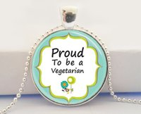 Pendant Necklaces organic vegetarian - Vegetarian Jewelry Proud To Be A Vegetarian Vegan Organic Earth Day Art Pendant With Ball Chain Necklace