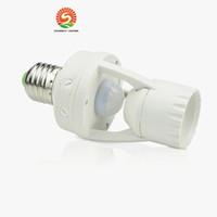interrupteur led achat en gros de-AC 110-220V 360 Degrés 60W PIR Capteur De Mouvement À Induction IR infrarouge Humain E27 Plug Socket Switch Base Led Ampoule Lumière Support de Lampe