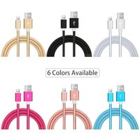 Wholesale Iphone 5s Data Sync - Ultra Durable Nylon Braided Wire Metal Plug Data Sync Charging Data Phone USB Cable for iPhone 7 6 6s Plus 5s 5 iPad Air