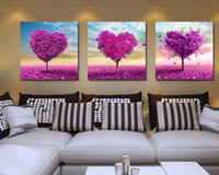 Wholesale High End Oil Painting - 1set (3pcs) High-end love tree decorative painting, home living room decorative painting, frameless