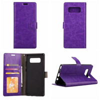 Wholesale Galaxy Note Book Cover - Leather Wallet Case For Galaxy Note8 Note 8 Retro Crazy Horse Frame Photo Card Slot ID Holder Stand Flip Cover Pouch Book Animal Sports