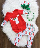 Wholesale Santa Outfits For Girls - Baby Girls Christmas outfits 3pc sets bow hat+solicing sleeves romper+printing pants Infant Santa Elk printing clothing for 0-2T