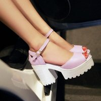Wholesale Sexy Platform Shoes For Sale - Drop Shipping Thick High Heels Platform Summer Dress Shoes For Women Sexy Casual Peep Toe Sandal Hot Sale