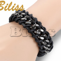 Wholesale Braid Chain Link - 21.5cm Punk Men Jewelry Black Leather Bracelet with Alloy Chain Link Men Braided bracelets & bangles pulseira masculina 8.5 inch