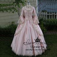 viktorianischen rosa brautkleider großhandel-Viktorianische gotische Spitze-Ballkleid-Hochzeits-Kleider 2018 Prinzessin plus Größen-Rosa-lange Hülse abgestufter Überrock-Weinlese-Satin-Brautkleider 2K17