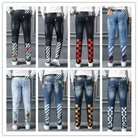 Wholesale Famous Foot - OFF WHITE true Elastic jeans Men's Distress Ripped Biker Jeans JUSTIN BIEBER Embroidery US Size Famous Brand Designer little feet jeans