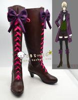 Wholesale Christmas High Heels Boots - Wholesale-Black Butler Alois Trancy high heel bow ver Cosplay Boots shoes shoe boot #NC200 anime Halloween Christmas