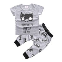 Wholesale boys super heroes for sale - Group buy Hot style INS summer baby clothes infants clothing home baby cotton lion face Super hero short sleeve T shirt pants toddler