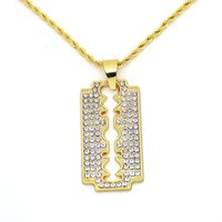 Wholesale Twisted Chain Necklaces For Women - Hip Hop Jewelry Crystal CZ Blade Pendant Necklace Twisted Chain For Men Women Trendy Accessories Gold