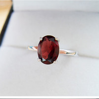 Wholesale Red Solitaire Garnet Ring - Hot sale solid silver sterling 925 rings 7*9mm 100% natural garnet ring birthday gift for woman silver jewelry