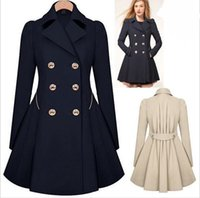 Wholesale European Trench - Fall Winter Clothes for Women Nice New European and American Commuter Slim Lapel Neck Double Breasted Ruffle Pleated Trench Coats for Women