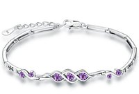 Wholesale Pure Rhodium Jewelry - Bracelets Real Pure 925 Sterling Silver Jewelry White Gold luxury Crystal Diamante Bangles Fashion Beautiful Party Valentine's Day Gifts 1pc