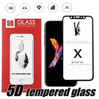 Wholesale Iphone Front White - For Iphone X 8 5D Tempered Glass Full Coverage Screen Protector 5D Curved 9H Screen Protector Black And White With Red Package