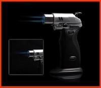 ayarlanabilir alev çakmak toptan satış-Ücretsiz Kargo AOMAI Çift alev Lehimleme Lehim Ayarlanabilir Alev Bütan Gaz Jet Sigara Kaynak Torch Çakmak