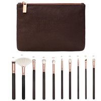 Wholesale Complete Cosmetic Set - 15pcs set Rose Golden Complete Set Makeup Brushes with Leather Package Face&Eye Brushes Daily Cosmetics Brushes