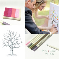 Wholesale Wedding Guestbook Tree Fingerprint - Wedding Fingerprint Tree And Inkpad Wedding Guest Book Tree Unique Signature Guestbook Vintage Wedding Decorations Party Wedding Supplies